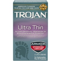Trojan Ultra Thin Armor Spermicidal Lubricant Condoms Sensitivity