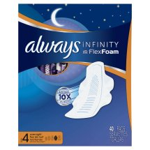 Always Infinity Size 4 Overnight Pads with Wings, Unscented, 40 Count