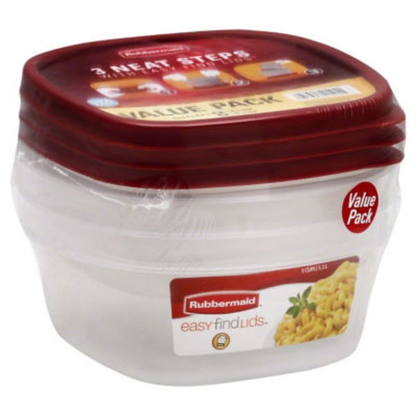 Rubbermaid Tupperwear Stores Neatly with Easy Find Lids - 3 CT