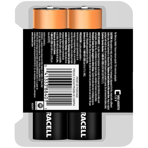 Duracell CopperTop C Alkaline Batteries 8 Count recloseable pack  Primary Major Cells