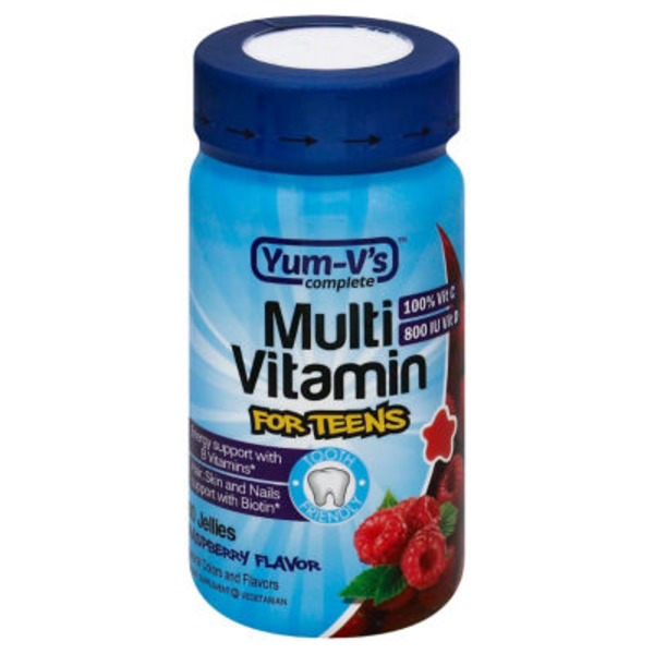 Yum V's Complete Multi Vitamins For Teens, Raspberry Jellies