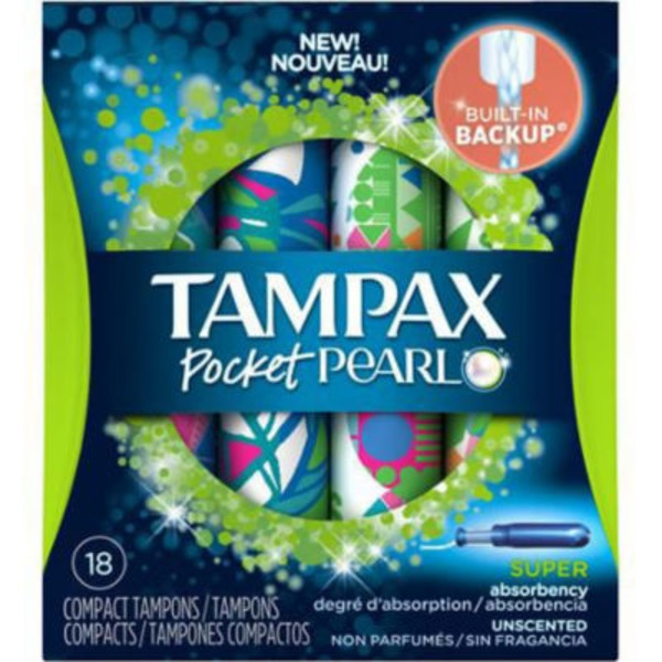 Tampax Pocket Pearl Super Unscented Compact Tampons