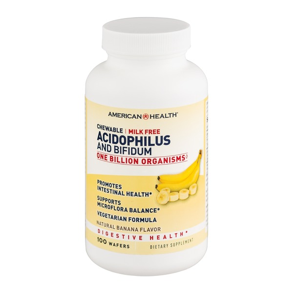 American Health Chewable Acidophilus and Bifidum Digestive Health Supplements Banana Flavor - 100 CT