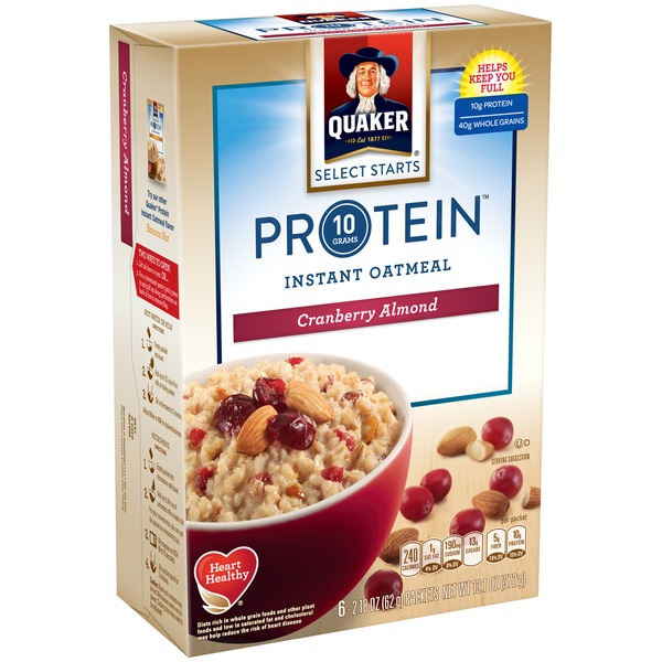 Quaker Oatmeal 10 Grams Protein Cranberry Almond Instant Oatmeal