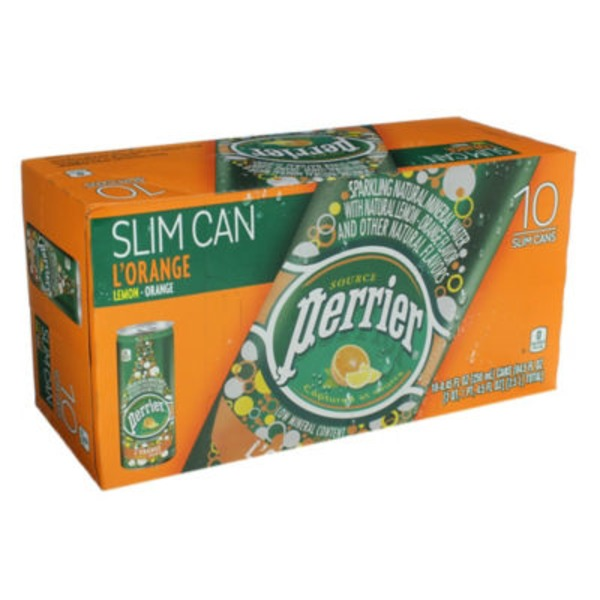 Perrier L'Orange Slim Cans Sparkling Natural Mineral Water