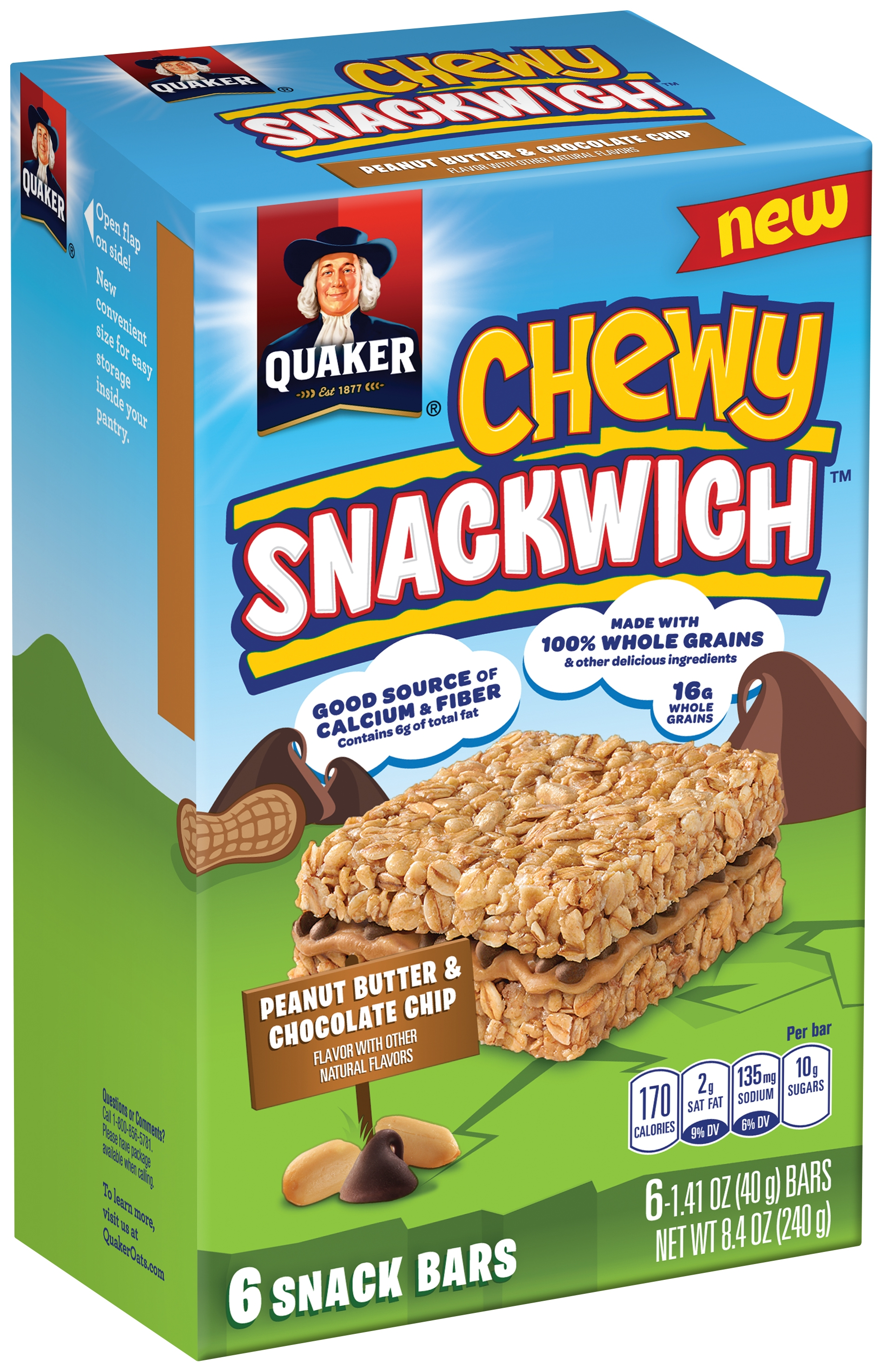 Quaker Chewy Snackwich Peanut Butter & Chocolate Chips Snack Bars 6 Count