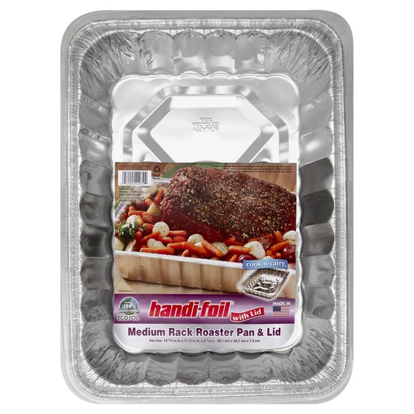 Handi-Foil Pan, Rack Roaster, Medium, with Lid, Not Packed