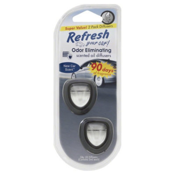 Refresh Your Car Odor Eliminating Scented Oil Diffusers New Car Scent - 2 CT