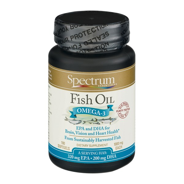 Spectrum Essentials Fish Oil Omega-3 1000mg Softgels - 100 CT