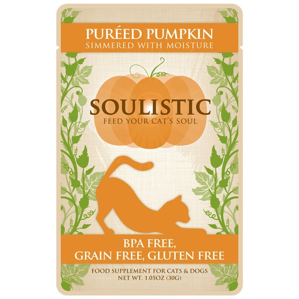 Soulistic Pureed Pumpkin Adult Cat Food Pouch Case Of 12 1.05 Oz.