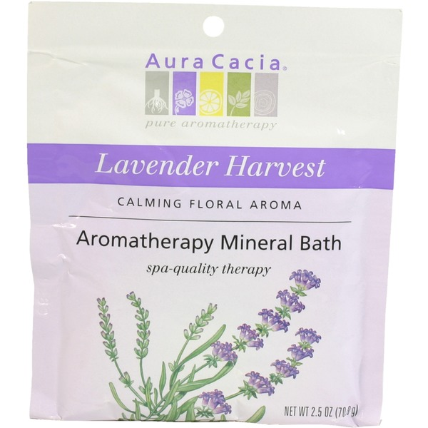 Aura Cacia Lavender Harvest Aromatherapy Mineral Bath, Calming Floral Aroma