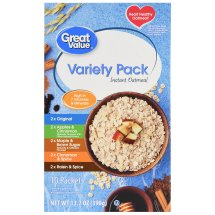 Great Value Instant Oatmeal, Variety Pack, 13.7 oz, 10 Count