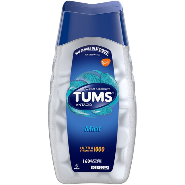 Tums Ultra Strength 1000 Mint Chewable Tablets Antacids