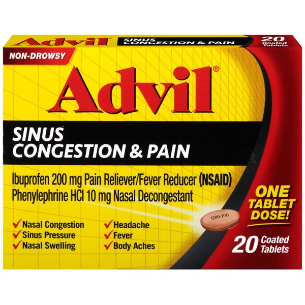 Advil Sinus Congestion & Pain Coated Tablets Pain Reliever/Fever Reducer/Nasal Decongestant