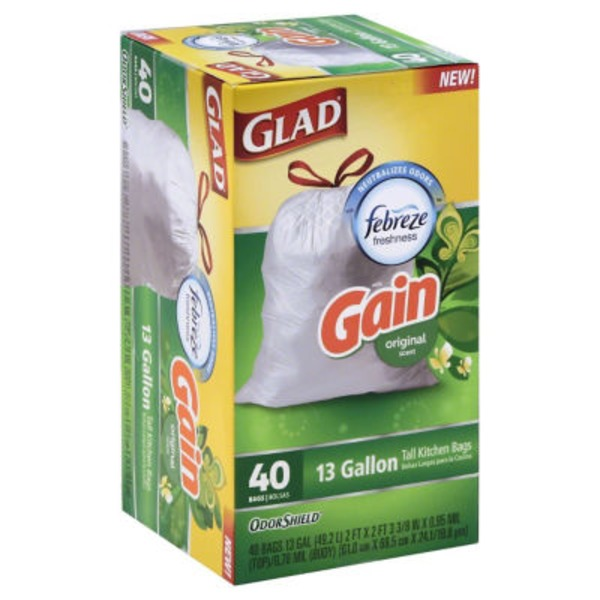 Glad Tall Kitchen Drawstring Bags 13 Gallon Gain Original - 40 CT