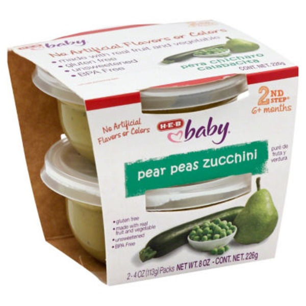 H-E-B Baby 2nd Step Pear Peas Zucchini Baby Food Cups