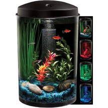 Hawkeye 3 Gallon 360 View Aquarium Kit with LED Lighting and Natural Biological Filtration, 9.5' L x 9.5' W x 13.75' H