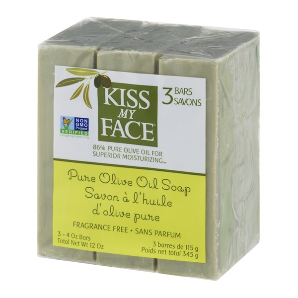 Kiss My Face Pure Olive Oil Soap Bars Fragrance Free - 3 CT