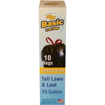 Top Job Basic Drawstring Tall Lawn & Leaf Bags, 39 gal, 10 count