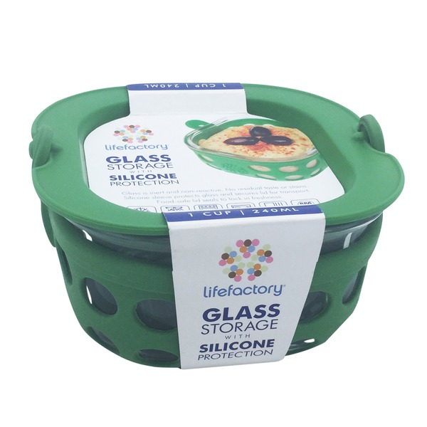 Lifefactory Glass Storage Container with Green Silicone Protection