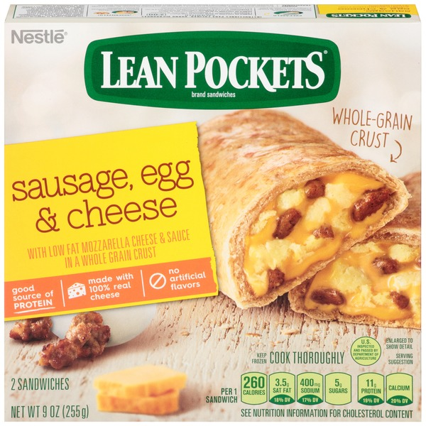 Lean Pockets Sausage Egg & Cheese Frozen Sandwiches