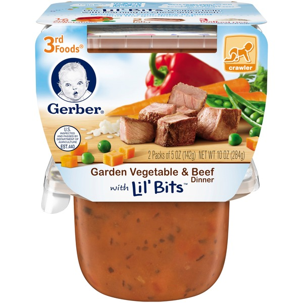 Gerber 3rd Foods Garden Vegetable & Beef Dinner with Lil' Bits Purees Dinner