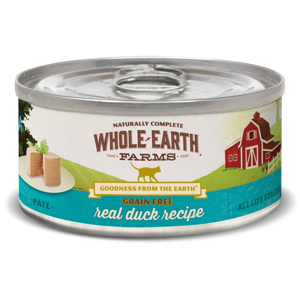 Whole Earth Farms Grain Free Real Duck Canned Cat Food Case Of 24 2.75 Oz.