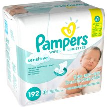 Pampers Sensitive Baby Wipes Refills, 3 packs of 64 (192 count)