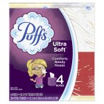 Puffs Ultra Soft White Facial Tissues 4-56 ct Boxes