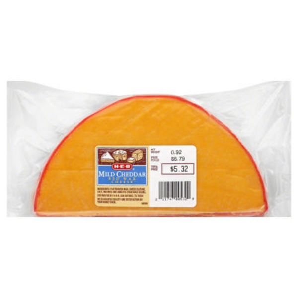 H-E-B Red Wax Mild Cheddar Cheese