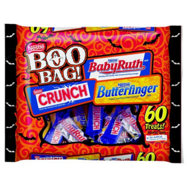 Nestle Butterfinger, Nestle Crunch, and Baby Ruth fun size bars Chocolatey Candy Bars