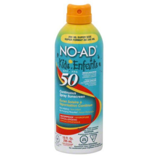 No-Ad Kids Continuous Spray Sunscreen SPF 50
