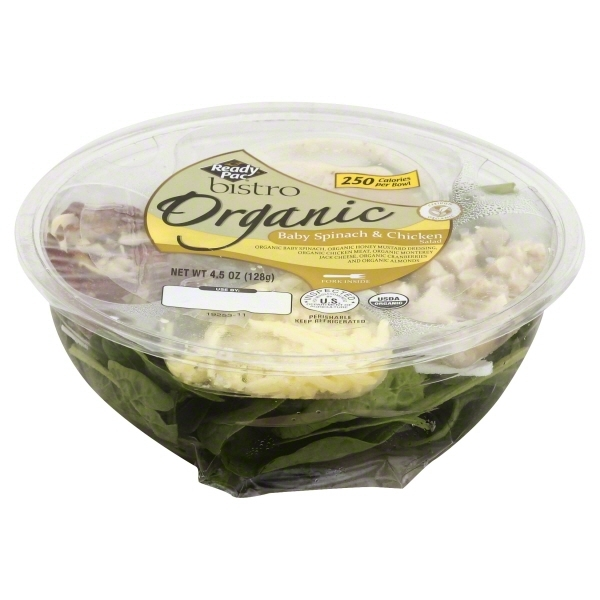 Organic Baby SpinachOrganic Honey Mustard Dressing  Organic Grilled Diced ChickenJack Cheese