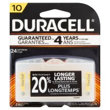 Duracell Easy Tab Size 10 Hearing Aid Batteries, 24 Count