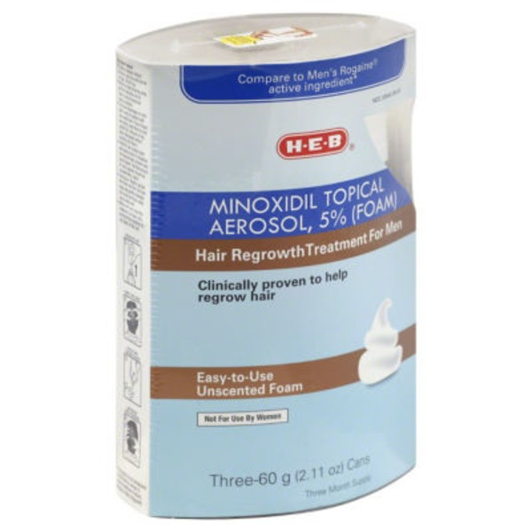 H-E-B Unscented Hair Regrowth Foam Treatment For Men