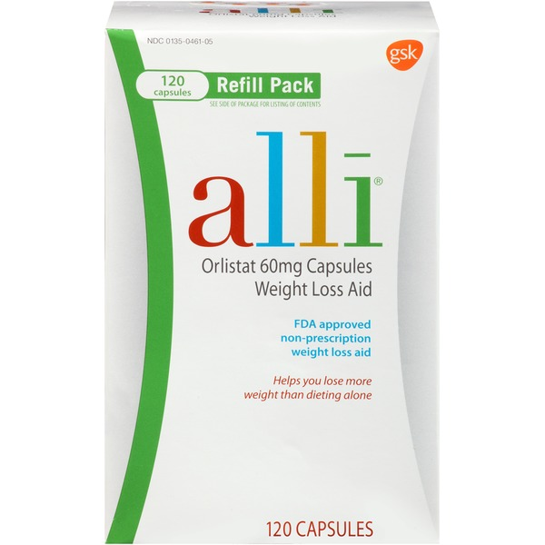 ALLI Weight Loss Aid Refill Pack Orlistat 60 mg Capsules