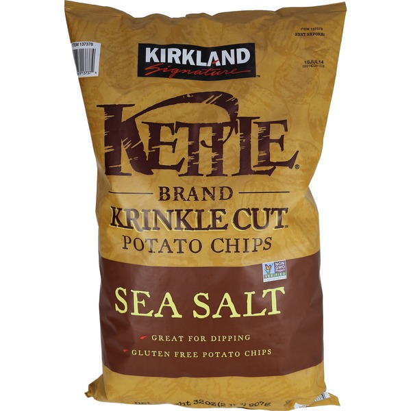 Kirkland Signature Kettle Brand Krinkle Cut Potato Chips Sea Salt