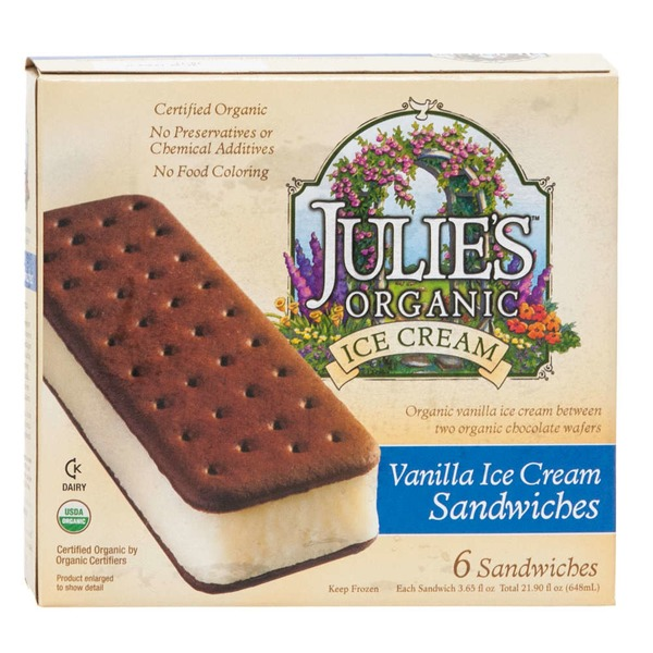 Julie's Organic Ice Cream Sandwiches Vanilla - 6 CT