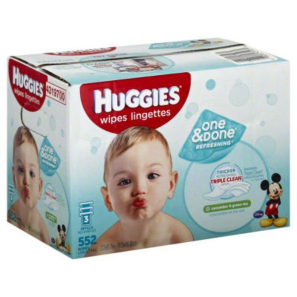 Huggies One & Done Refreshing Cucumber & Green Tea Refills Baby Wipes