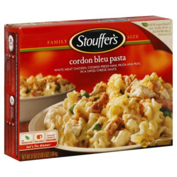 Stouffer's Family Size Tender white meat chicken, freshly cooked ham, pasta and peas in a Swiss cheese sauce Cordon Bleu Pasta