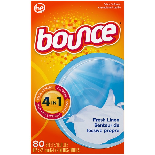 Bounce Fabric Softener Dryer Sheets Fresh Linen 80CT Fabric Enhancers