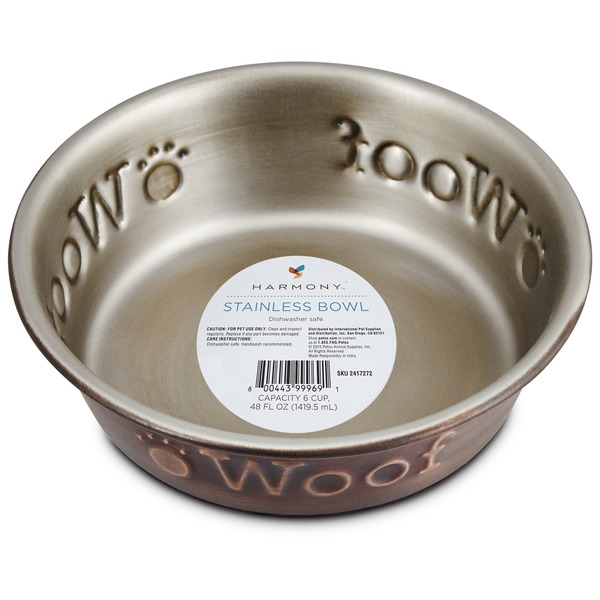 Harmony Stainless Steel Woof Copper Dog Bowl 1 Cup