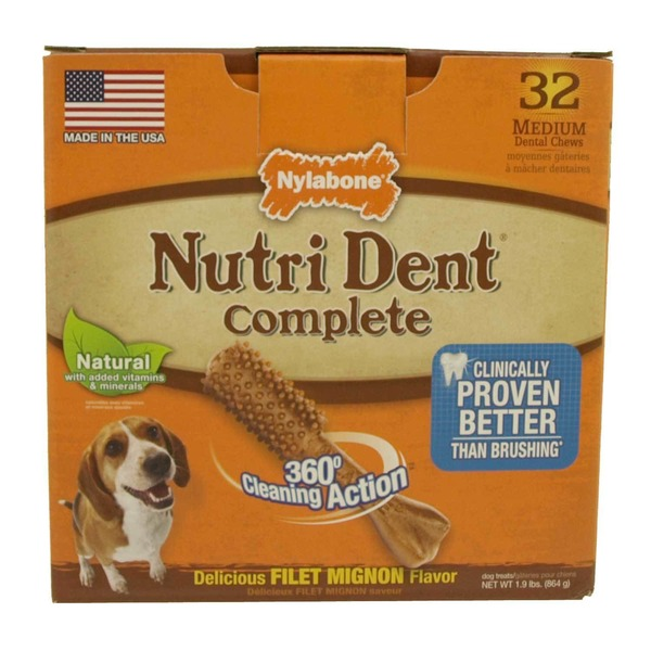 Nylabone Nutri Dent Complete Filet Mignon Flavor Dental Chew For Adult Dogs Medium Pack