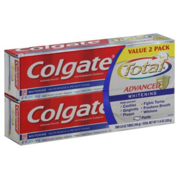 Colgate Total Advanced Fluoride Toothpaste Whitening Paste - 2 CT