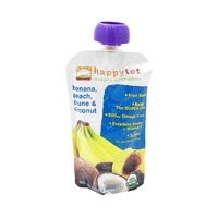 Happy Tot Organics Superfoods Organic Bananas, Peaches, Prunes & Coconut + Super Chia Fruit Blend Snack