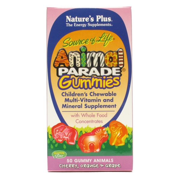 Nature's Plus Plus Animal Parade Gummies Children's Chewable Multi Vitamin And Mineral Supplement Cherry Orange And Grape