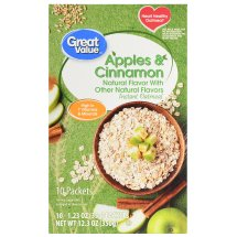 Great Value Instant Oatmeal, Apples & Cinnamon, 12.35 oz, 10 Count