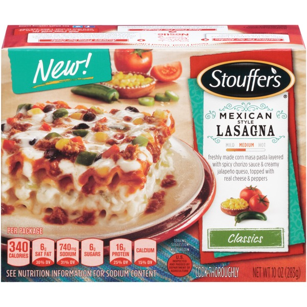 Stouffer's Classics Freshly made corn masa pasta layered with spicy chorizo sauce & creamy jalapeno queso, topped with real cheese & peppers Mexican Style Lasagna