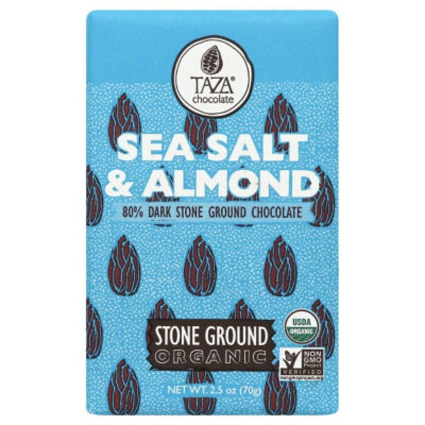 Taza Sea Salt Almond Organic Stone Ground 80% Dark Chocolate