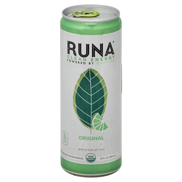 Runa Guayusa Beverage, Sparkling, Original Zero with a Hint of Lime
